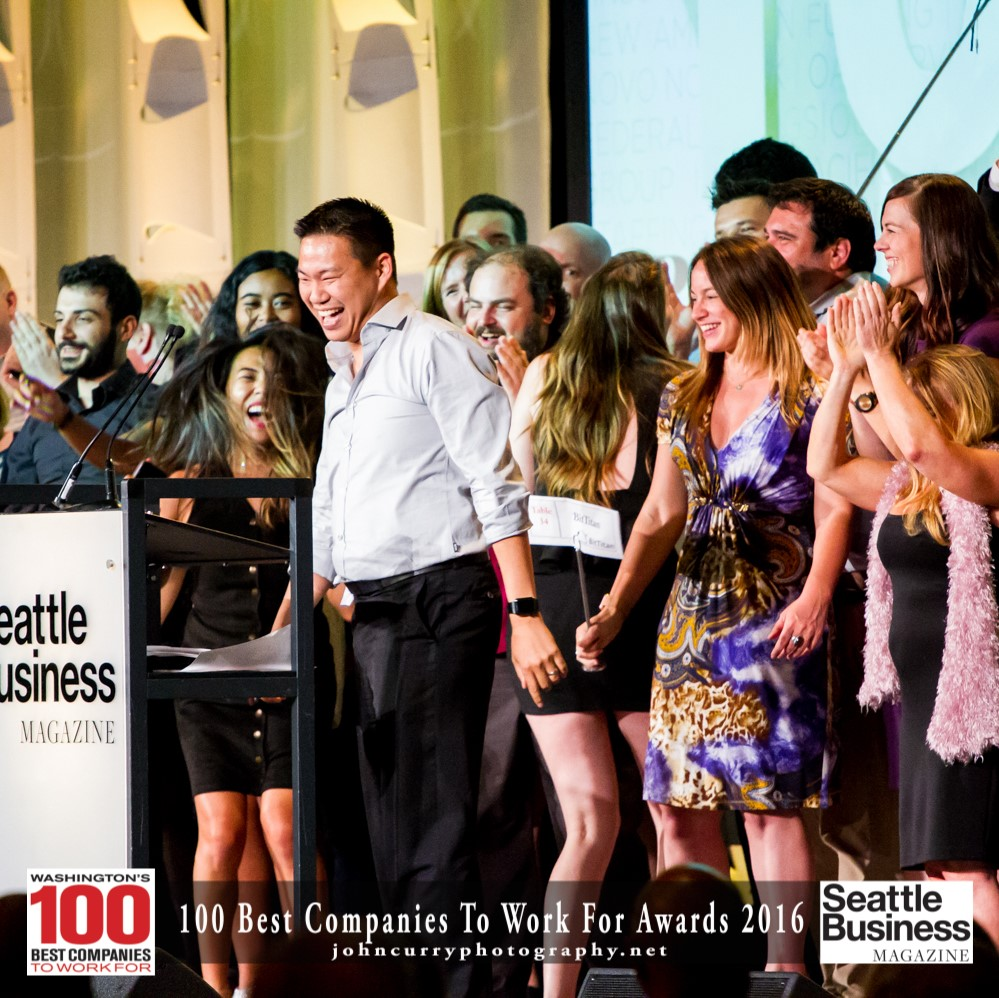 Bittitan employees celebrating their recent win of the Seattle Business Magazine's '100 Best Companies to Work For' award.